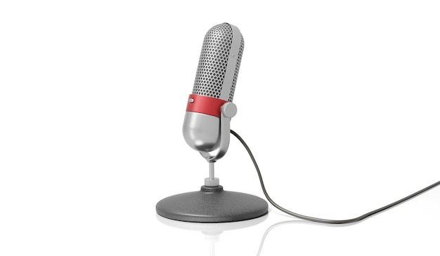 Prata retrô antigo e cromado de cor vermelha com microfone de design de botão isolado no fundo branco