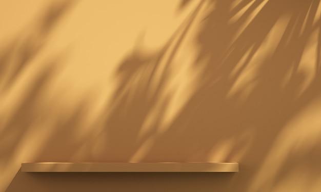 Prateleira 3d na parede com sombra de árvore em fundo verde e laranja, fundo de maquete de produto de verão, ilustração 3d render