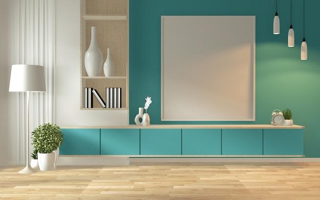 Prateleira da tevê no estilo tropical moderno da sala da hortelã - interior vazio da sala - projeto mínimo. renderização em 3d