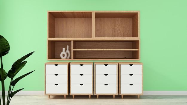 Prateleira da tevê no estilo tropical moderno da sala verde - interior vazio da sala - projeto mínimo. renderização em 3d