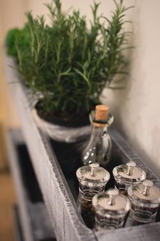 Prateleira de cozinha com frascos de especiarias e alecrim