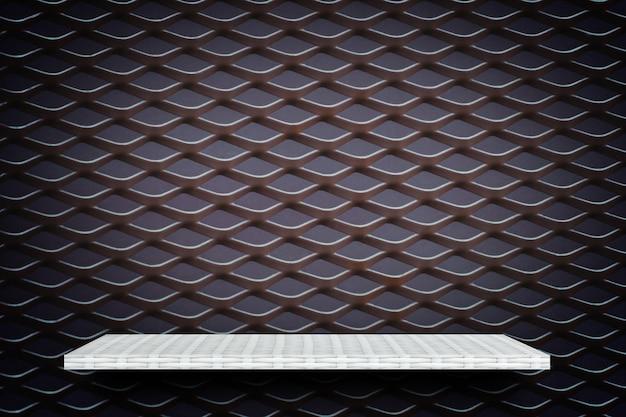 Prateleira de exposição de produto branco sobre fundo de grelha de metal