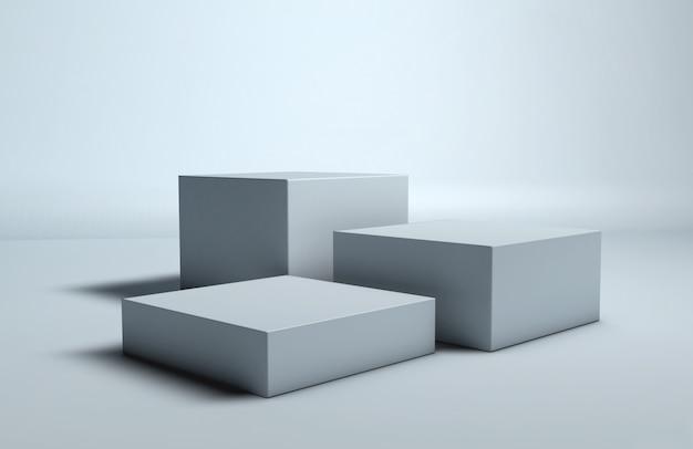 Prateleira de fundo branco cubo pódio para produto de publicidade