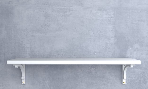 Prateleira de madeira branca vintage na parede.