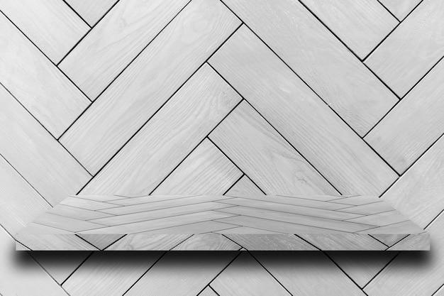 Prateleira de madeira e fundos, para exposição do produto.