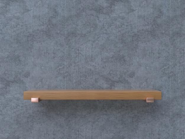 Prateleira de madeira em branco cimento textura renderização 3d mock up