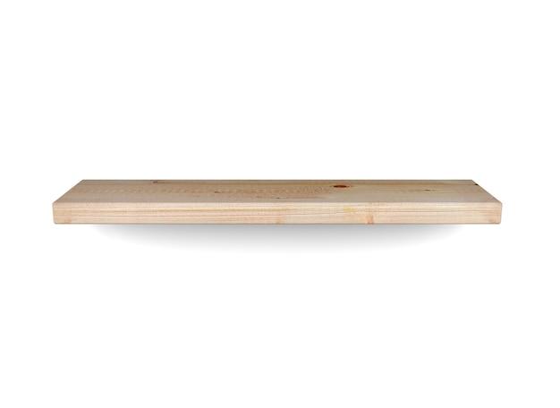 Prateleira de madeira isolada em fundo branco ilustração 3d