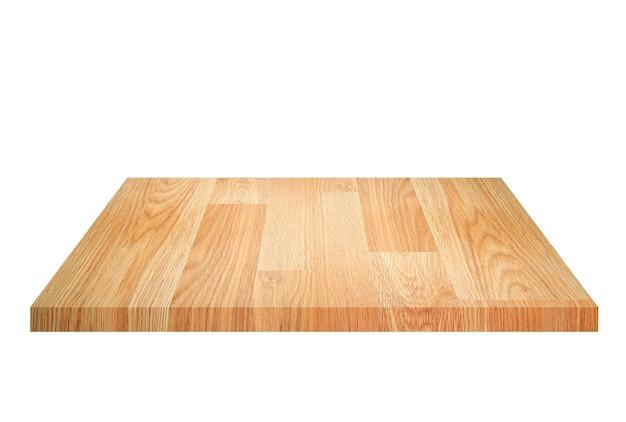 Prateleira de madeira marrom vazia isolada no fundo branco. para montagem do seu produto