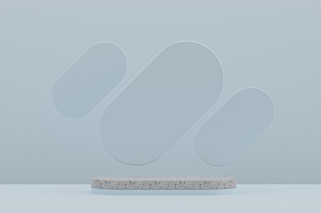 Prateleira de mármore do pódio ou estilo mínimo de estante de produto vazio sobre fundo azul claro para apresentação de produtos cosméticos.