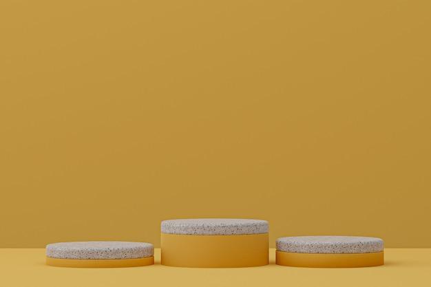 Prateleira de mármore do pódio ou estilo mínimo de suporte de produto vazio em amarelo para apresentação de produtos cosméticos.
