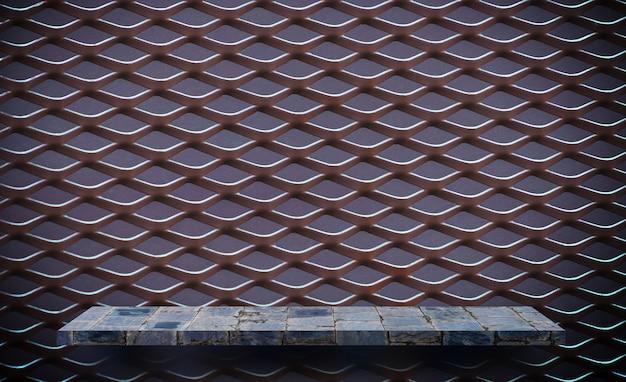 Prateleira de metal cinza rústica vazia para grade de metal de exibição de produto