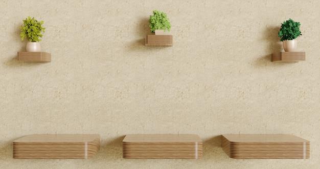 Prateleira de parede vazia de madeira três com decoração de plantas casal na parede de gesso