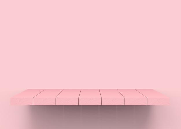 Prateleira de placa de madeira cor-de-rosa bonita vazia do painel.