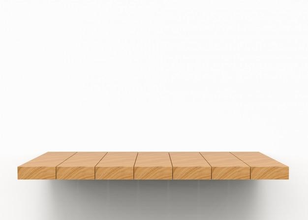 Prateleira de placa de madeira marrom vazia do painel.