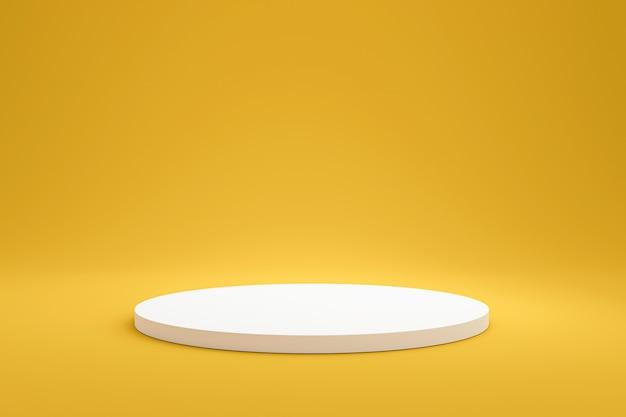 Prateleira de pódio branco ou exibição de pedestal vazio em fundo amarelo vívido verão com estilo minimalista. suporte em branco para mostrar o produto. renderização em 3d.
