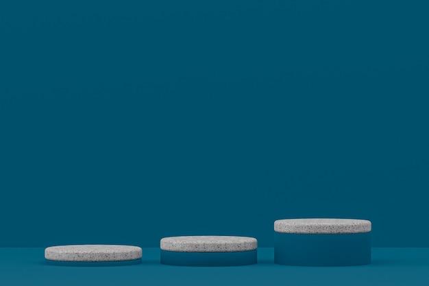 Prateleira de pódio em mármore ou estante de produto vazio em estilo mínimo em azul escuro para apresentação de produtos cosméticos.