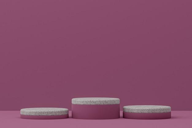 Prateleira de pódio em mármore ou estante de produto vazio em estilo mínimo em roxo para apresentação de produtos cosméticos.