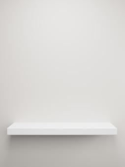 Prateleira de rack branca. exibição do produto. renderização 3d