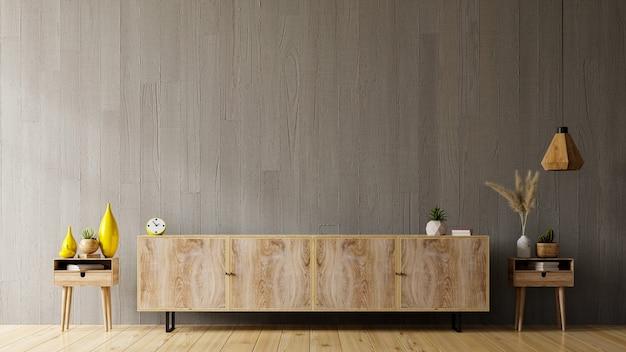 Prateleira de tv em uma sala vazia moderna, design minimalista, renderização em 3d