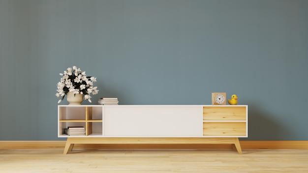 Prateleira de tv na moderna sala vazia, design minimalista, renderização em 3d