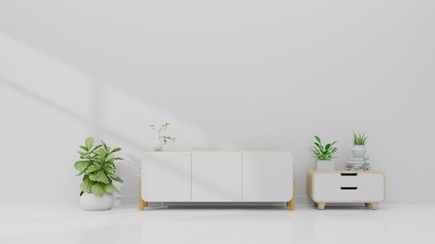 Prateleira de tv na moderna sala vazia na parede branca, renderização em 3d