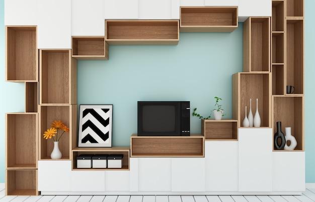 Prateleira de tv no moderno estilo tropical de quarto de menta