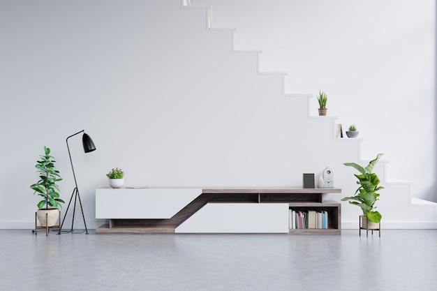 Prateleira de tv no quarto vazio moderno