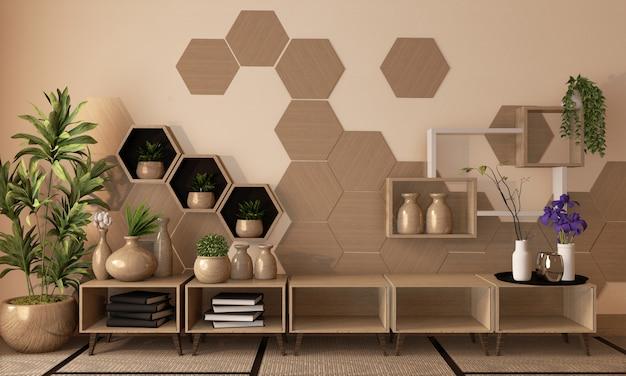 Prateleira e telhas de madeira do hexágono na parede e armário de madeira e decoração de madeira do vaso no assoalho da esteira de tatami, rendição 3d
