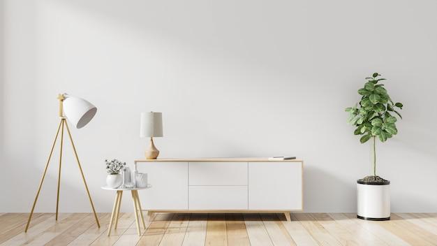 Prateleira para tv em quarto branco vazio moderno, renderização em 3d