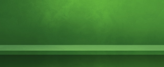 Prateleira vazia em uma parede verde. cena do modelo de plano de fundo. banner horizontal