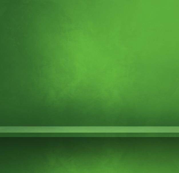 Prateleira vazia em uma parede verde. cena do modelo de plano de fundo. banner quadrado