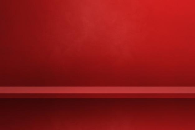 Prateleira vazia em uma parede vermelha. cena do modelo de plano de fundo. pano de fundo horizontal