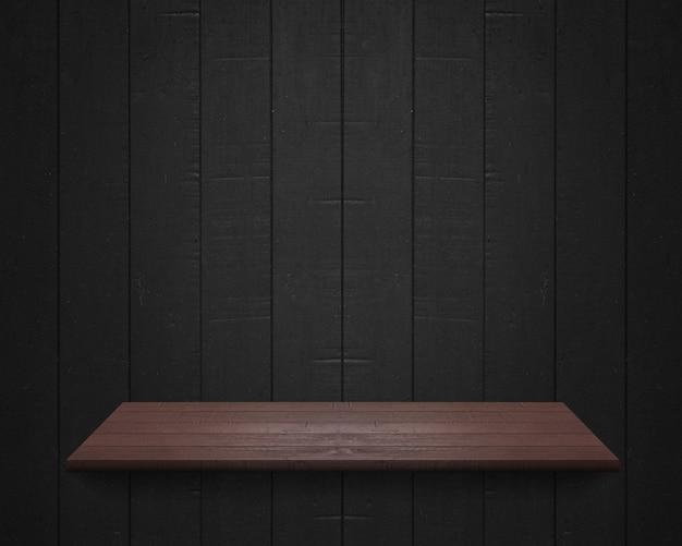 Prateleira vazia no fundo da parede de madeira preta, modelo de simulação