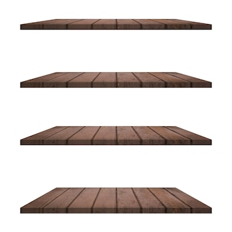 Prateleiras de madeira isoladas em fundo branco