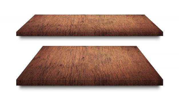 Prateleiras de madeira marrons isoladas no branco