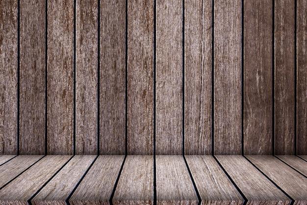 Prateleiras de madeira superiores vazias para a textura e o fundo