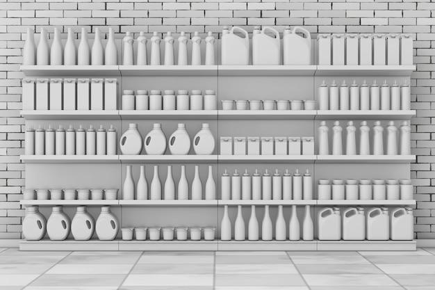 Prateleiras de supermercado com produtos em branco ou produtos em estilo de argila na frente da parede de tijolos. renderização 3d.