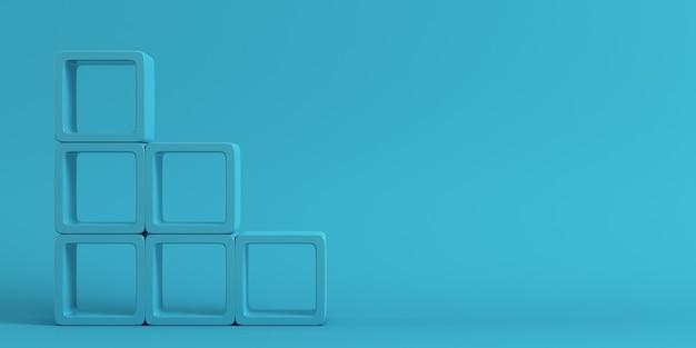Prateleiras quadradas vazias em fundo azul em tons pastel