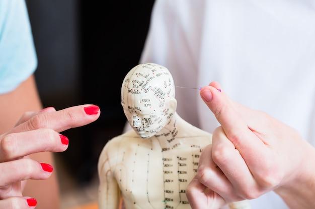 Praticante alternativa explicando acupuntura