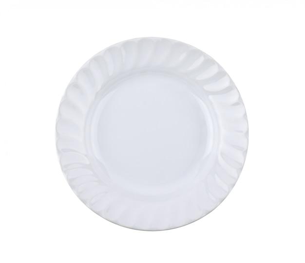 Prato branco isolado em fundo branco