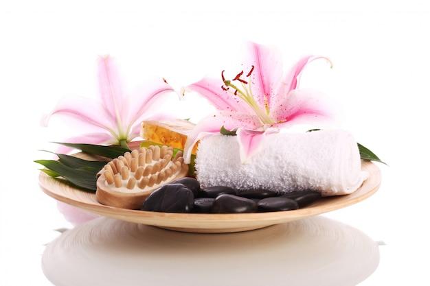 Prato com algum inventário para massagem