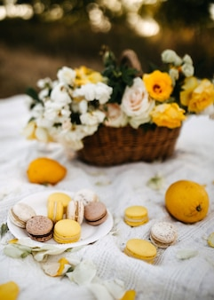 Prato com macarons, limões e uma cesta com flores em uma manta branca no parque
