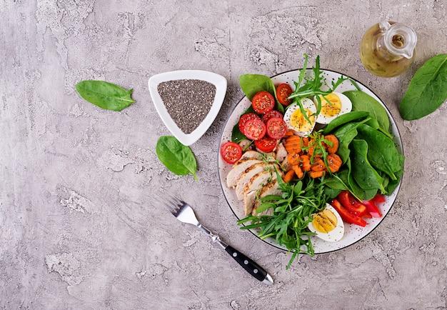 Prato com um alimento de dieta ceto. tomate cereja, peito de frango, ovos, cenoura, salada com rúcula e espinafre. keto almoço. vista do topo