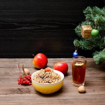 Prato de deleite tradicional eslava na véspera de natal