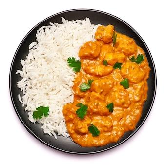 Prato de frango ao curry tradicional isolado