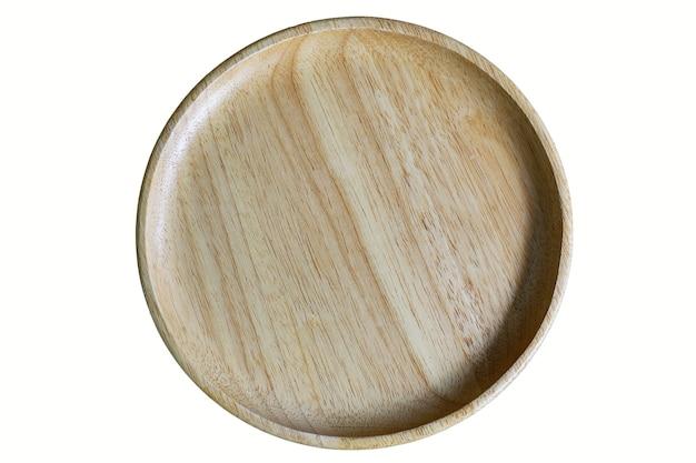 Prato de madeira é um círculo eles para comida com traçado de recorte