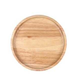 Prato de madeira vazio isolado no branco