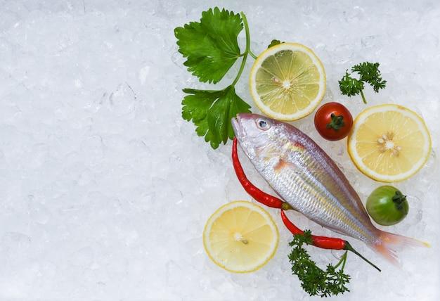 Prato de marisco fresco peixe com salsa de limão no gelo