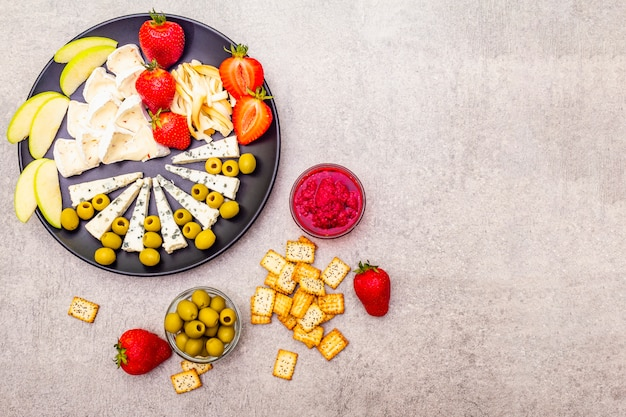 Prato de queijos variados