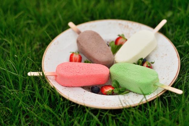 Prato de sorvete na grama. picolé colorido vitrificado. grama de verão. a frescura e frescura no calor do verão.